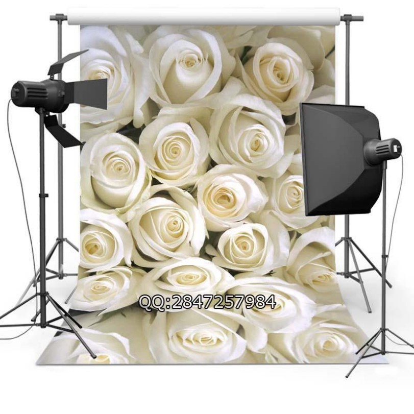 3D White Big Rose Flower Wedding photo backdrop Vinyl cloth High quality Computer print wall Backgrounds for sale