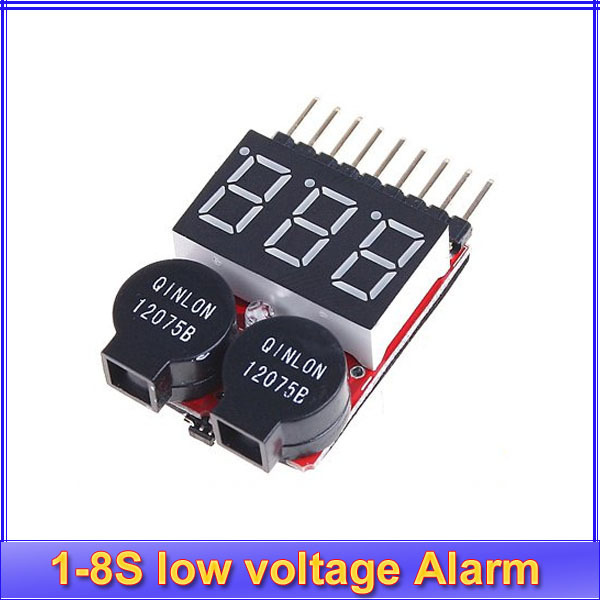 1pcs New Lipo battery low Voltage Indicator volt meter monitor buzzer Alarm 1-8s 8S 3.7V-22.2V 3.7V 7.4V 11.1V 14.8V 18.5V 22.2V rc model 2s 3s 4s detect lipo battery low voltage alarm buzzer