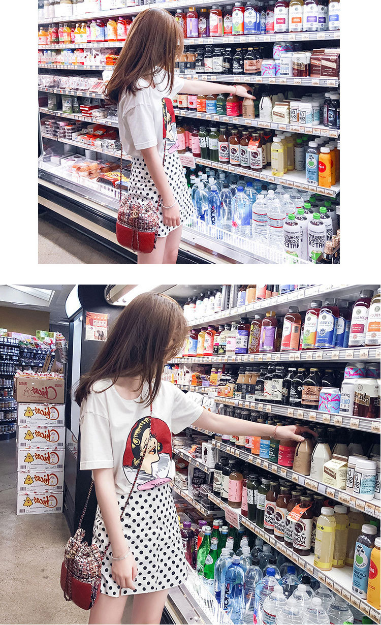 Modieuze wave dot rok pak vrouwelijke zomer 2019 nieuwe hoofd print T-shirt schudden tone web celebrity dezelfde stijl