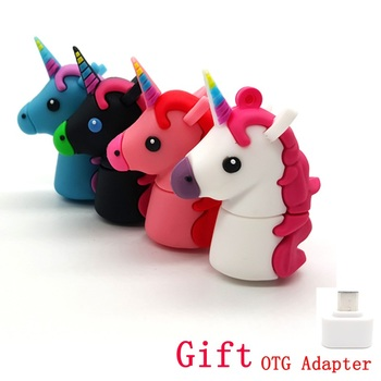 Cartoon Unicorn USB Flash Drives With OTG Adapter For Phone Pen Drive 4GB 8GB 16GB 32GB 64GB Memory Stick Pendrives Gift
