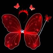 Новый 3 шт./компл. девочка фея принцесса рождество крыла бабочки палочка повязка на голову