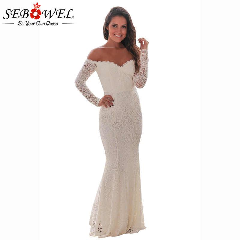 cc124a3346f5 SEBOWEL 2018 Sexy White/Black Off Shoulder Crochet Lace Long Party Dress  Women Long Sleeve