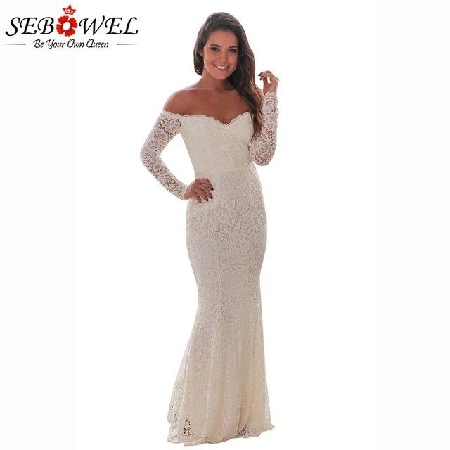 c6fc3d074c1 SEBOWEL 2018 Sexy White Black Off Shoulder Crochet Lace Long Party Dress  Women Long Sleeve Bodycon Floor-Length Dresses S-XL
