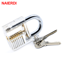 NED Transparent Visible Design Modern Style Pick Cutaway Mini Practice View Padlock 78x50mm Lock Training Skill For Locksmith free shipping 9pcs transparent visible cutaway practice padlock door lock pick training skill for locksmith