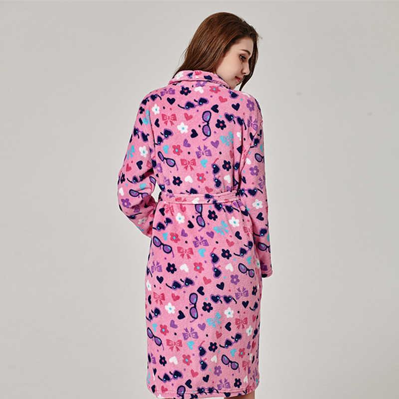 ... 2018 Soft Warm Coral Fleece Bathrobe Female Autumn Winter Kimono Dressing  Gown Long Sleeve Pyjamas Sets ... 6d2260c90