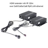 HDMI Extender HDMI Splitter extend HDMI 1080p signal to 120m RJ45 Transmitter Receiver with IR Converter Support Cat5/Cat5e/Cat6