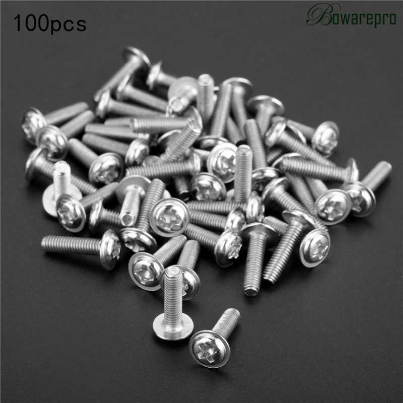 bowarepro 100PCS Fasteners Screws Round Head Carbon Steel Screws with Collar Pad Washer Hardware Screw M3*4/5/6/8/10/12/16MM 100pcs lot 6colors 12mm round spikes fashion pop rivets stud hardware w screw for bags shoes wallets belts