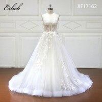 Eslieb Custom Made A Line Wedding Dresses 2018 V Neck Court Train Lace Applique Crystal Bride