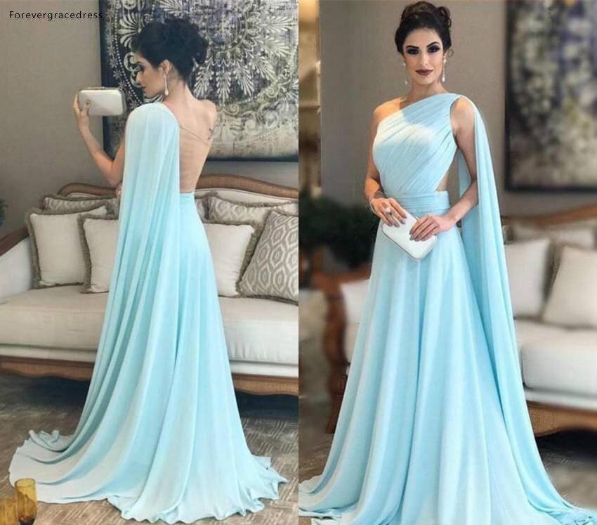 Elegant One Shoulder   Evening     Dresses   2019 Saudi Arabia Dubai A Line Holiday Wear Formal Party Prom Gowns Plus Size