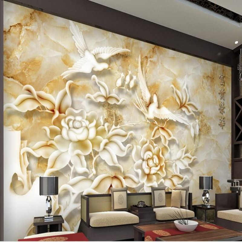 Beibehang Custom Large Fresco Large Jade Carving Tv Backdrop