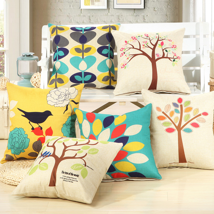 Lindo Home decorativo algodón lino árbol de aves almohada textiles para el hogar