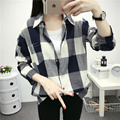 New Autumn Women Shirts Long Sleeve Loose Cotton Plaid Shirt Long Section Blouse Lady Casual Blouses Top Blusas Chemise Femme