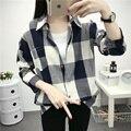New Outono Mulheres Camisas de Manga Longa Camisa Xadrez Longa Seção de Algodão Solto Blusa Senhora Blusas Casuais Top Blusas Chemise Femme