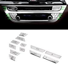 Estilo do carro ABS Chrome Centro Console 5 Ar Condicionado Interruptor Botões Adesivo Da Tampa Da Guarnição Para BMW Série 2018 528 530 g30 540li