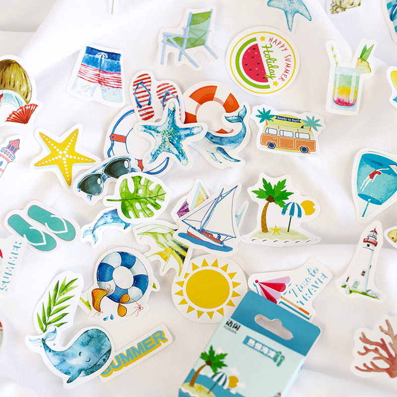 50pcs/Pack Cute Summer Series Ice Cream Beach Fruit Paper Sticker Computer Decor School Student Stationery