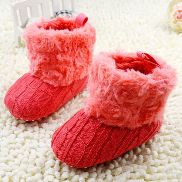 Baby Shoes Infant Crochet Knit Fleece Boots Toddler Girl Boy Wool Snow Crib Shoes Winter Booties