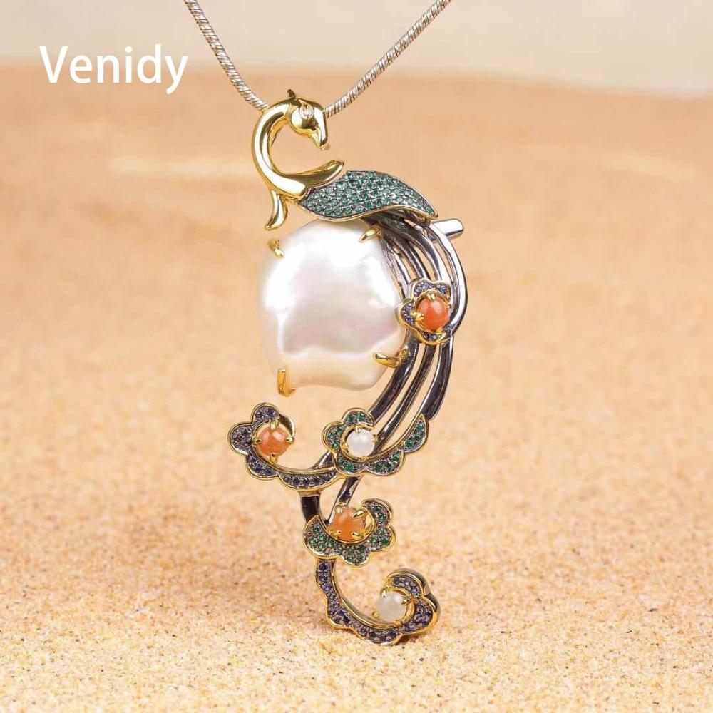 Venidy Baroque Vintage Pearls Pendant Fine Jewelry for Women Bridal Classic High Quality Tourmaline Jade Pearl Pendant