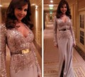 2017 Arabic Myriam Fares Celebrity Dresses Sheath V-neck Long Sleeves Sequins Gray Slit Chiffon Long Red Carpet Dresses
