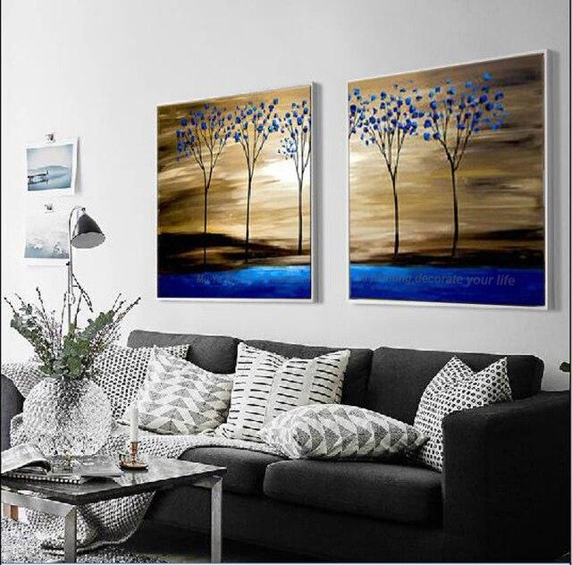 Muti Panneaux Décoratifs Arbre Bleu Tableaux Peints La Main Tableau  Décoration Murale Salon Paysage Peinture à