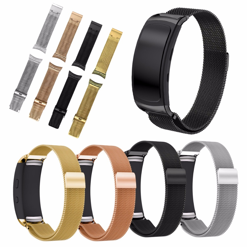 все цены на For Samsung Gear Fit2 Milanese Magnetic Loop Stainless Steel Bracelet Strap Replacement Wristband For Samsung Gear Fit SM-R360 онлайн