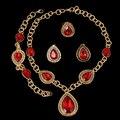 Conjuntos de Joyería de fantasía de Alta Calidad Africana Dubai Red Zirconia Plateó Sistemas de La Joyería Pendiente Grande Para Las Mujeres Del Partido de Estilo Vintage