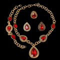 Costume Jewelry Sets High Quality African Dubai Red Zirconia Gold Plated Jewelry Sets Big Pendant For Women Party Vintage Style