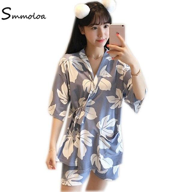 Smmoloa Women Milk Cotton Pyjamas Set Sleepwear Pijama Sets With Eye Patch  Japan Style Summer 528cf86c8