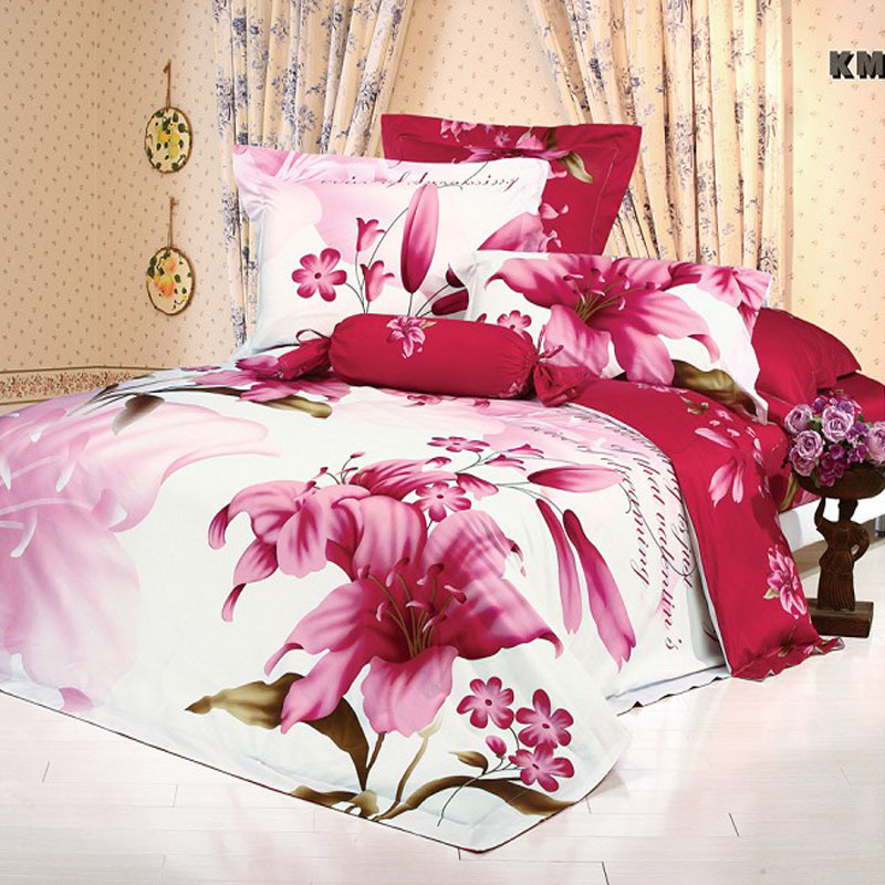 Lily Flower White And Red Floral Print Girls Bedding Sets