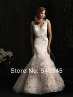2016 Champagne Bridal Gown Elegant Romantic Mermaid V Neck Sashes Beading Sequin Appliques Organza and Tulle Wedding Dresses