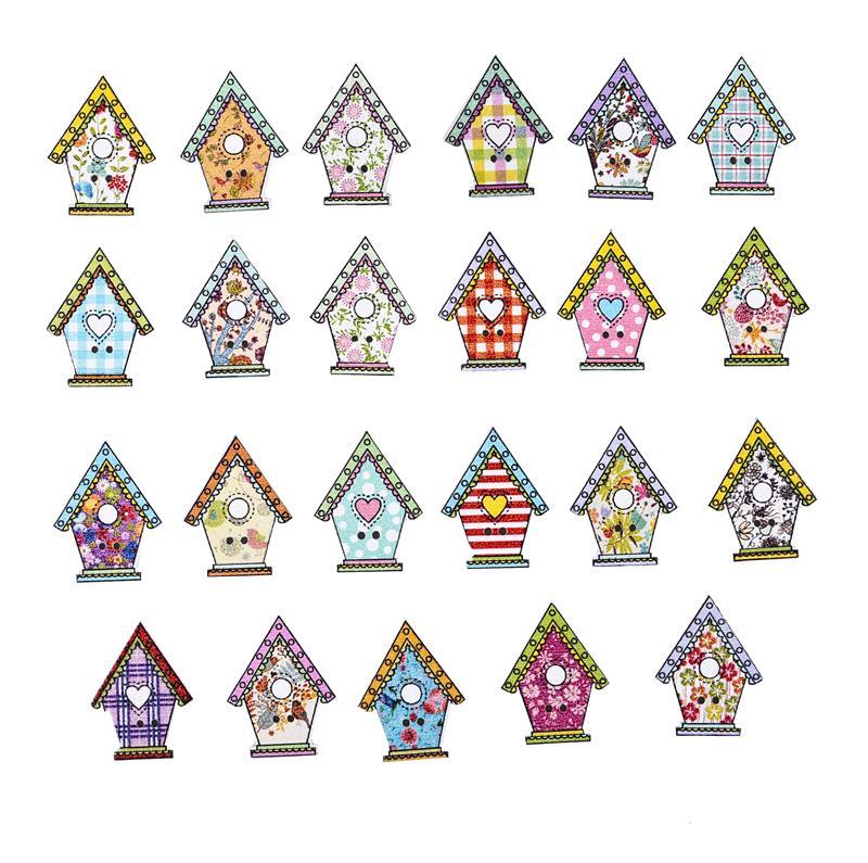 50 יחידות 2 חורים כפתורי עץ ציפור בית בצורת עץ כפתור עבור בגדי קישוט DIY אביזרי תפירה