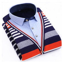 Hot Winter new mens pullover knitted patchwork Sweater thicken Casual Slim male Sweaters plus  L-4XL Man Sweater warm clothing