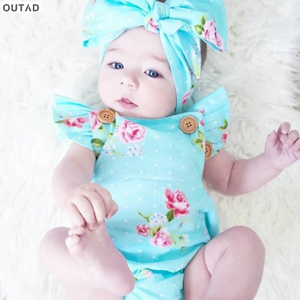 Newborn Baby Girls Bodysuits Comfortable Cute Baby Floral Flower Printed Jumpsuit Outfits with Headkerchief Baby Clothes 0-24M