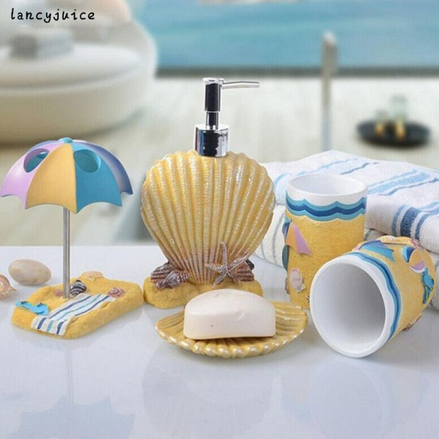 Sea Shell Bathroom Sets 5pcs Children Bathroom Accessories Set Cartoon  Resin Toothbrush Cup Soap Dish