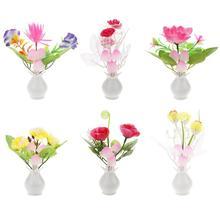 LED Colorful Flower Night Lights Luminous Lamp EU Plug Sensor Home Bedroom Decoration Novelty Light Flower Plant Nightlight
