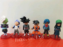 6 pçs/set Zamasu Dragon Ball Z Trunks Goku Gohan PVC Action Figure Modelo Estatueta(China)