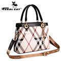 Women's Plaid Bag 2017 New Designer Casual Stylish Tote Shoulder Handbags With Copper Lock Top Handle Free Shipping 6016