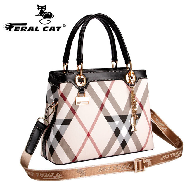 Women S Plaid Bag 2018 New Designer Casual Stylish Tote Shoulder Handbags With Copper Lock Top Handle