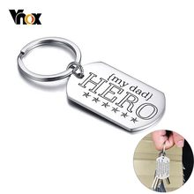 Vnox Hero Dad Key Chain Personalized Glossy Stainless Steel Tag rectangle Keychain Ring for Men Custom Father's Day Gift(China)