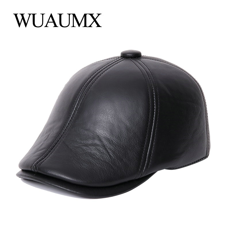 Wuaumx Genuine Cow Leather Berets For Men Lined With Cashmere Duckbill Winter Beret Hats Cowskin Warm Russian Hat With Ear flap