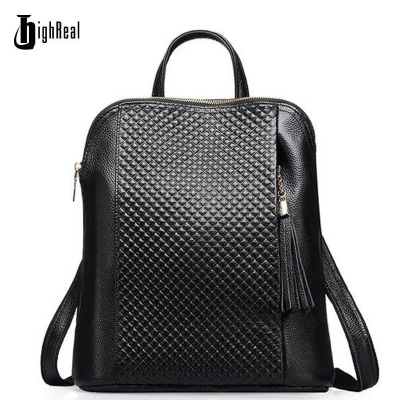 HIGHREAL New Genuine Leather Women Backpack College Style Cowhide Bag Travel Bag Real Leather Backpack Female Designer J04 zoole brand genuine leather backpacks women school style cowhide travel bag ladies real leather backpack female designer mochila