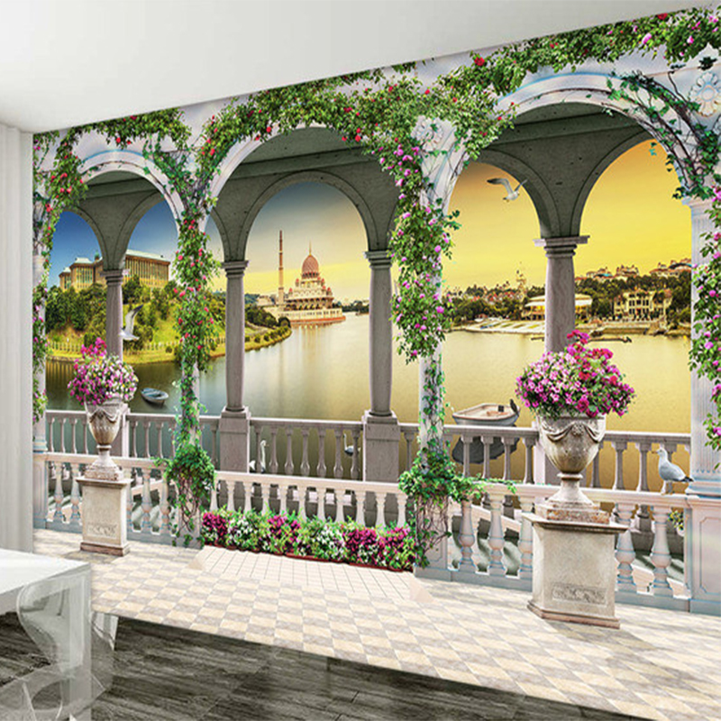 3D Wallpaper European Style Roman Column Nature Landscape
