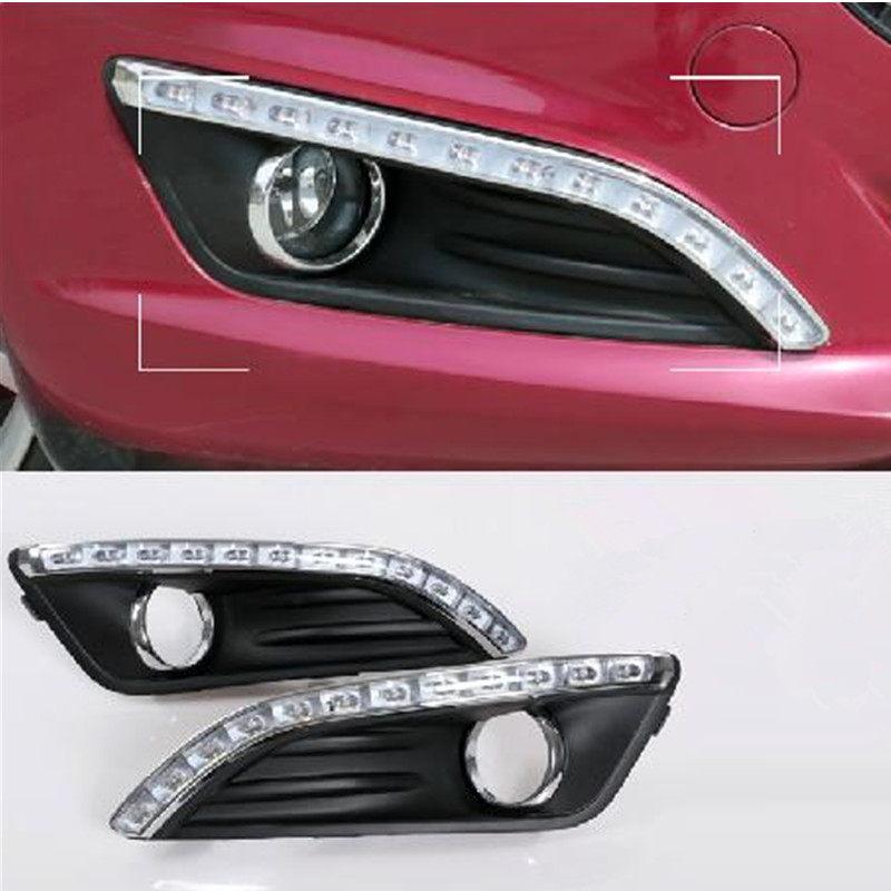 Car Accessories LED DRL Daytime Running Light fog lamp Fit For New FORD FIESTA 2013-2014 2pcs per set автоинструменты new design autocom cdp 2014 2 3in1 led ds150