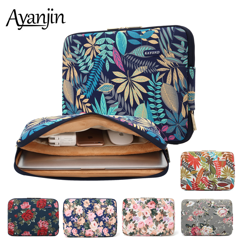 Waterproof Canvas Printing Women Men Sleeve Laptop Bag For Macbook Air 13 2019 Pro 11 12 14 <font><b>15</b></font> Case For Xiaomi <font><b>Asus</b></font> Lenovo Cover image