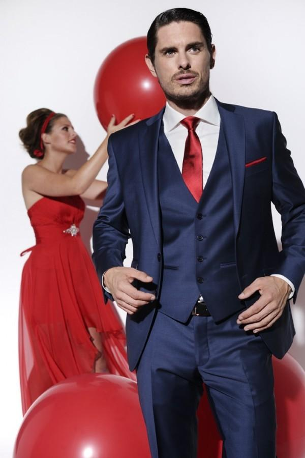 Navy Blue And Red Suit