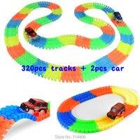 320pcs Track 2 Cars Glow Racing Glowing Race Track Bend Flex DIY Assembled Toy Electric Led