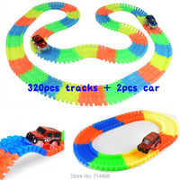 320pcs Track 2 Cars Glow Racing Glowing Race Track Bend Flex DIY Assembled Toy Electric Led