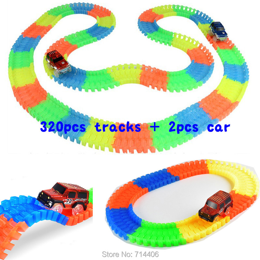 320pcs Track + 2 Cars glow racing Glowing Race Track Bend Flex DIY assembled toy,electric led light car building block toy