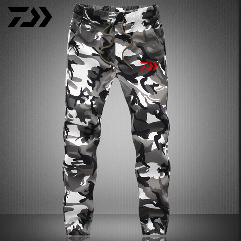 Men Daiwa Fishing Pants Camouflage Color Outdoor Windproof Camping Hiking Riding Breathable Sports Trousers Cotton Fishing Pants
