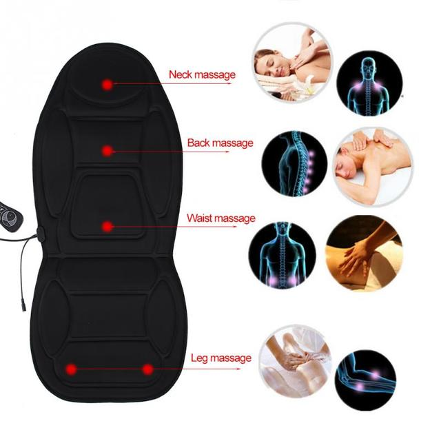 Car Home Office Electric Seat Massage Pad Heat Vibrate Back Neck Lumbar Pain Relief Therapy Chair