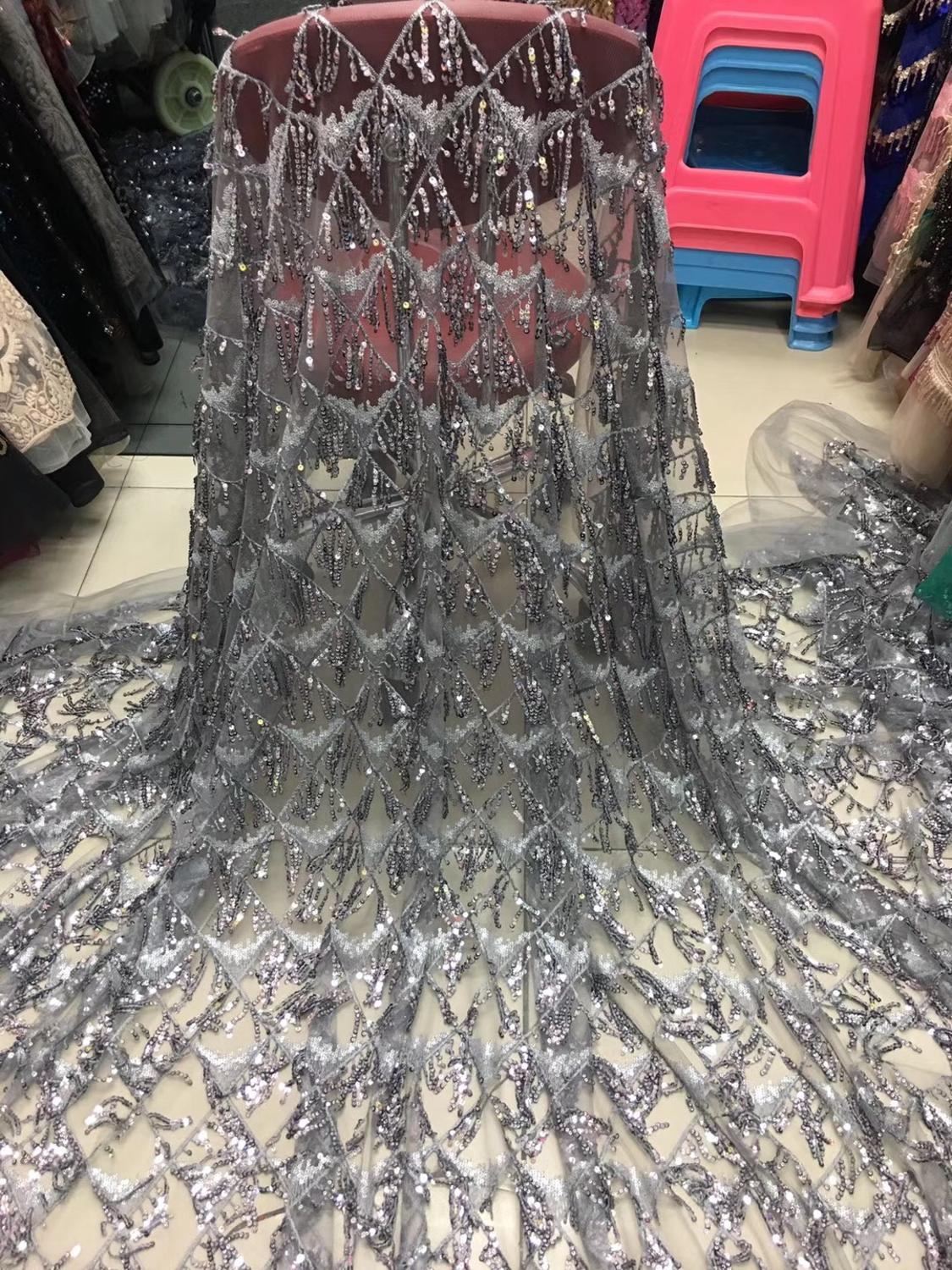 2019 Latest French Nigerian Laces Fabrics High Quality Tulle African Laces Fabric Wedding African French Tulle Lace DYS197 in Lace from Home Garden